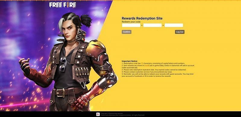 टेक्स्ट फिल्ड में रिडीम कोड डालें (Image via Free Fire)