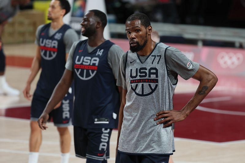 Kevin Durant #7 of team USA practices at Saitama Super Arena ahead of the Tokyo 2020 Olympic Game