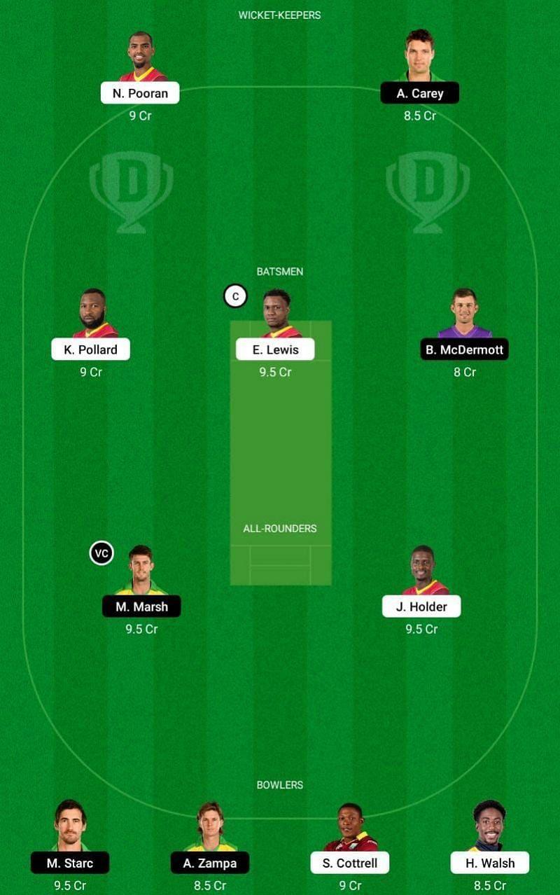 WI vs AUS 2nd ODI Dream11