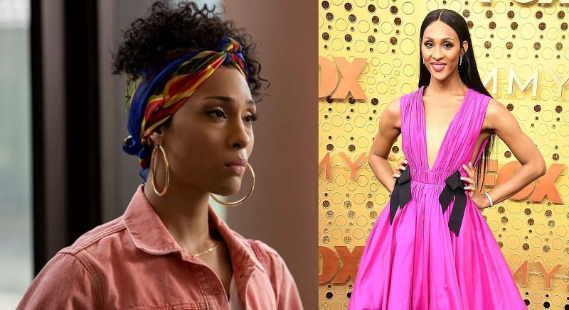 MJ Rodriguez in Pose, and Emmys 2021. (Image via: Steve Granitz/WireImage/Getty, and FX)
