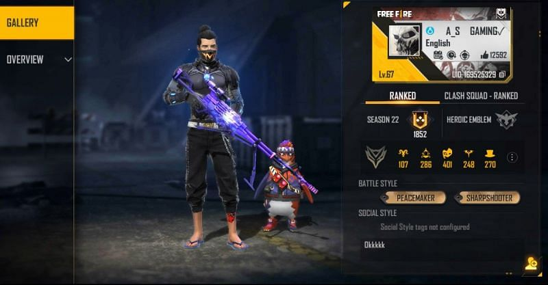 AS Gaming's Free Fire ID and more details (Image via Free Fire)