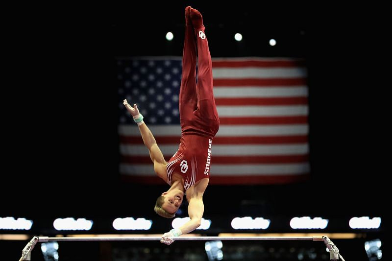 Allan Bower competes on the High Bar during the P&G Gymnastic Championships at Honda Center on August 19, 2017 in Anaheim, California. (Photo by Sean M. Haffey/Getty Images)