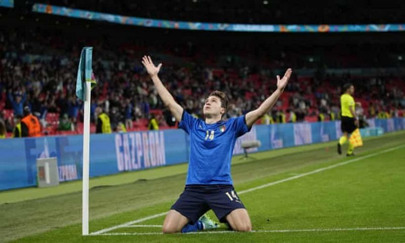 Federico Chiesa celebrates after scoring against Austria in the Round of 16.