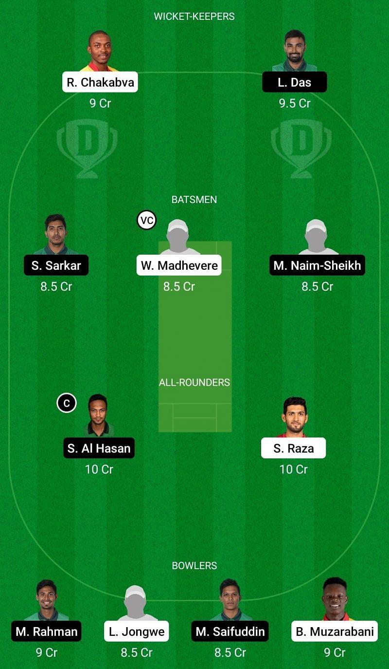 Dream11 Team for Zimbabwe vs Bangladesh - 1st T20I.