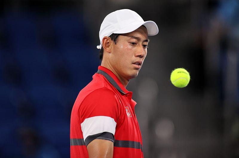 Kei Nishikori during his match against Novak Djokovic