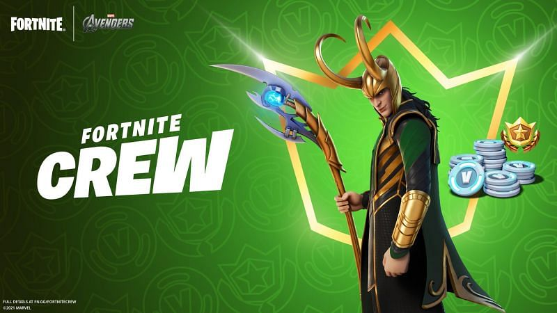 The Loki skin is available via the Fortnite Crew Membership (Image via Epic Games)