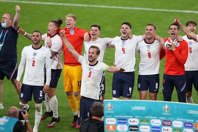 England players rejoice after reaching the Euro 2020 final at the expense of Denmark