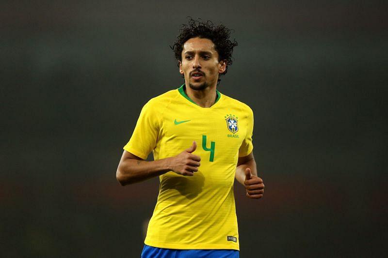 Marquinhos in action for Brazil