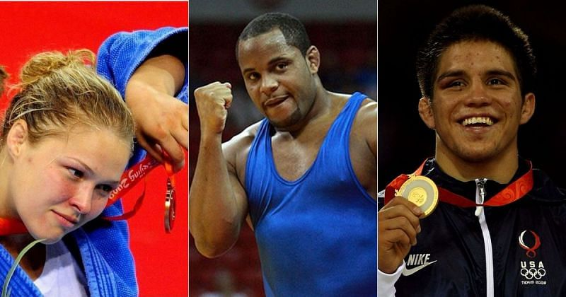 Ronda Rousey (left), Daniel Cormier (center), and Henry Cejudo (right)