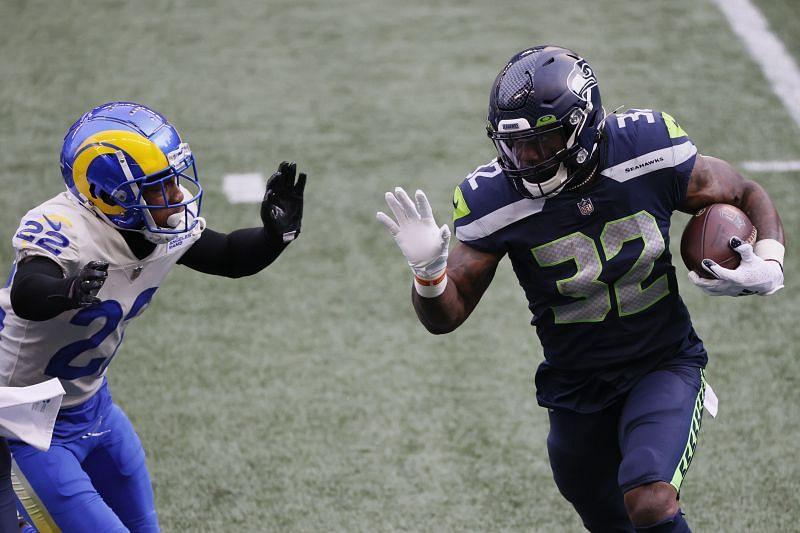 Chris Carson - Wild Card Round - Los Angeles Rams v Seattle Seahawks
