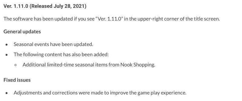 Animal Crossing: Catatan patch pembaruan New Horizons 1.11.0 (Gambar melalui Nintendo)