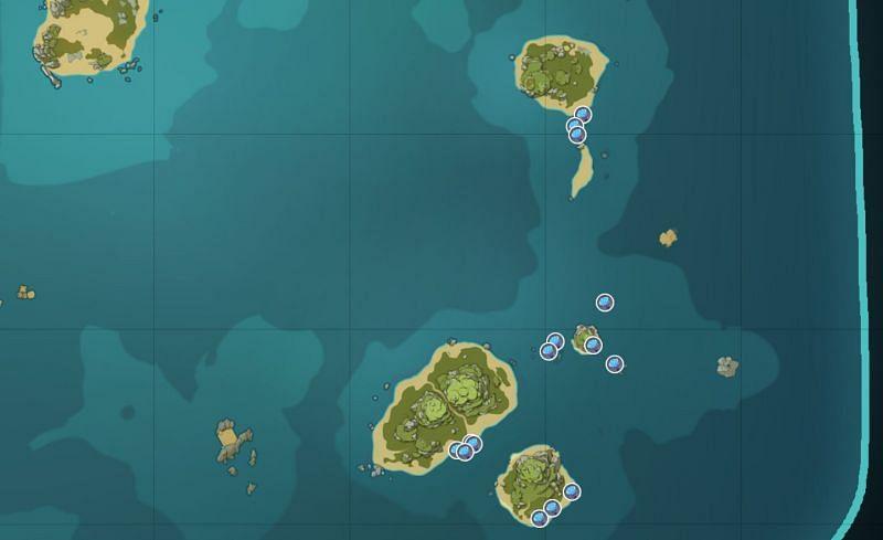 Sea Ganoderma locations on Pudding Isle (image via Genshin Impact Interactive World Map)