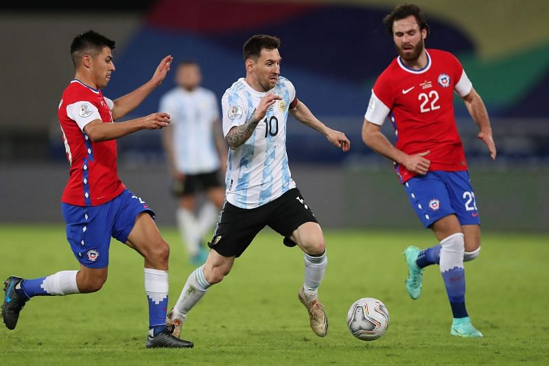 Messi won the Man of the Match award in Argentina's match v Chile.