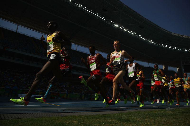 Cheptegei running the men's 5000m at the 2016 Rio Olympics