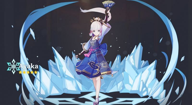 A fanmade version of Ayaka's wish art (image via u/blackheart612-)