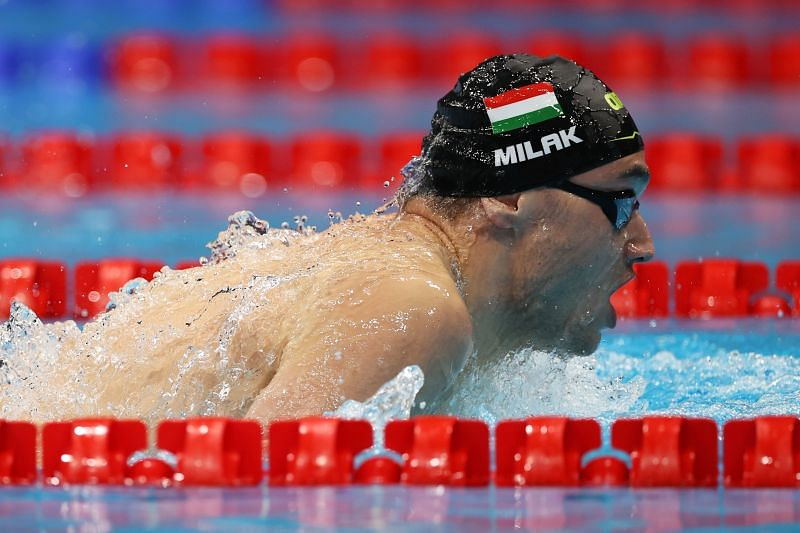 Kristof Milak of Team Hungary competes in heat five of the Men's 200m Butterfly on day three of the Tokyo 2020 Olympic Games