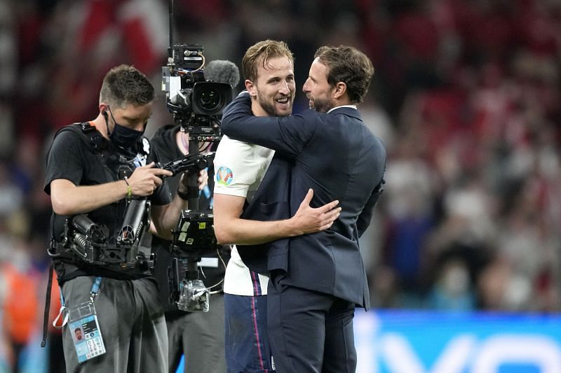 Harry Kame (centre) and Gareth Southgate.
