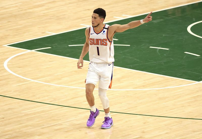 Devin Booker #1 during the first half of a game.