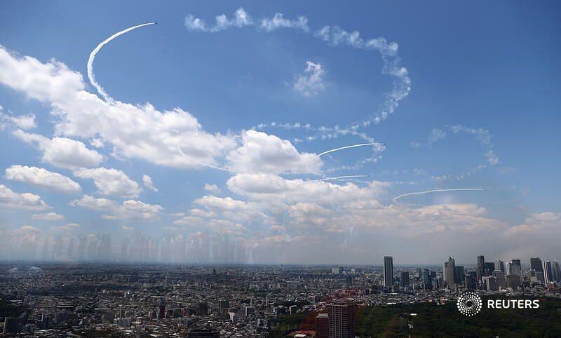 Olympic Rings in Tokyo's sky (Credit: Reuters Twitter)