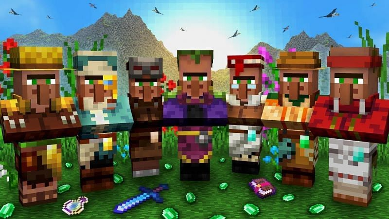 A peaceful congregation of various Minecraft villagers (Image via Cubey on YouTube)
