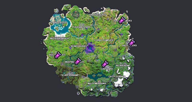 Fortnite Week 4 alien artifact locations (Image via Fortnite.gg)