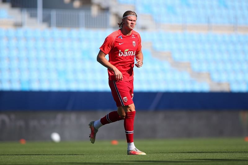 Erling Haaland in action for Norway