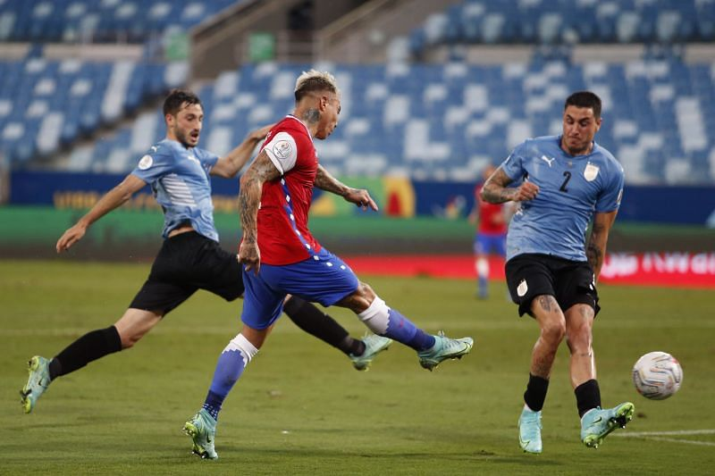 Vargas scored the opener against Uruguay from an impossible angle.