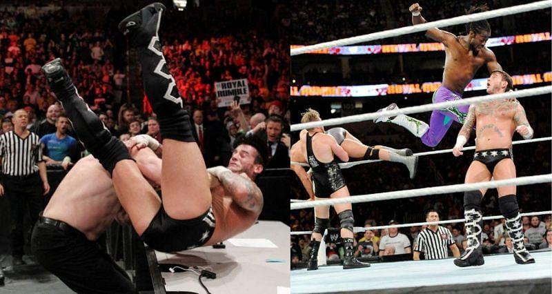 Kane chokeslams CM Punk; CM Punks receives the clothesline from Kofi Kingston