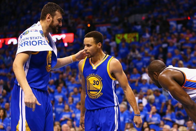 Andrew Bogut and Stephen Curry of the Golden State Warriors