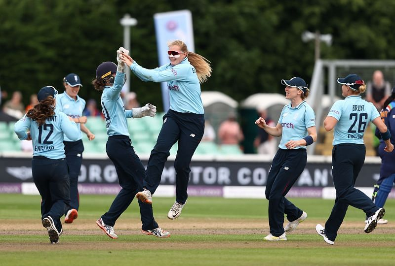 Sophie Ecclestone celebrates a wicket. Pic: Getty Images