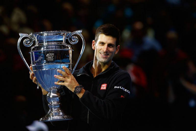 Novak Djokovic with the World No. 1 trophy