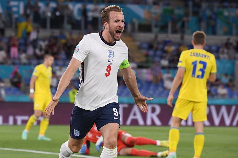 Harry Kane rejoinces after scoring one of his two goals against Ukraine.