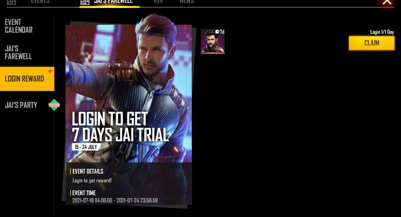 The trial can be claimed by the players (Image via Free Fire)