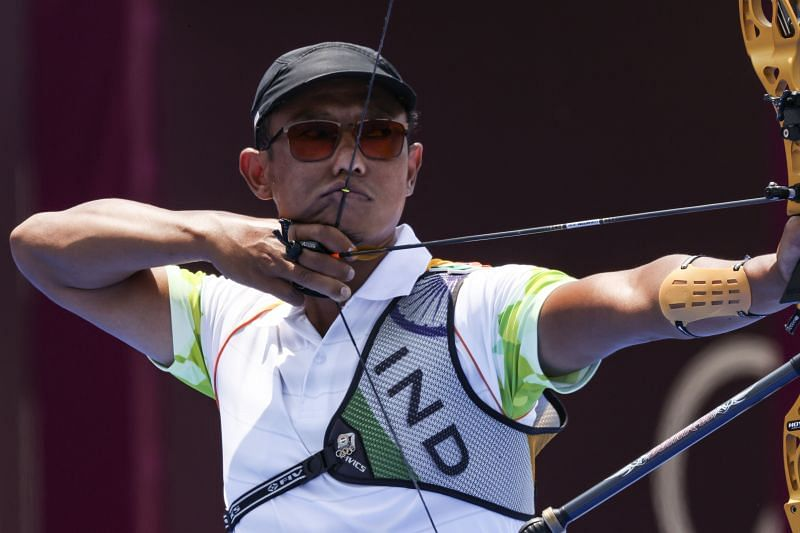 Tarundeep Rai of Team India competes in the archery Men's Individual 1/16 Eliminations on day five of Olympics 2021