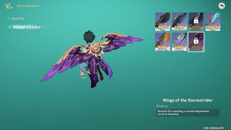 Inazuma exclusive Wind Glider (image via Genshin Impact)