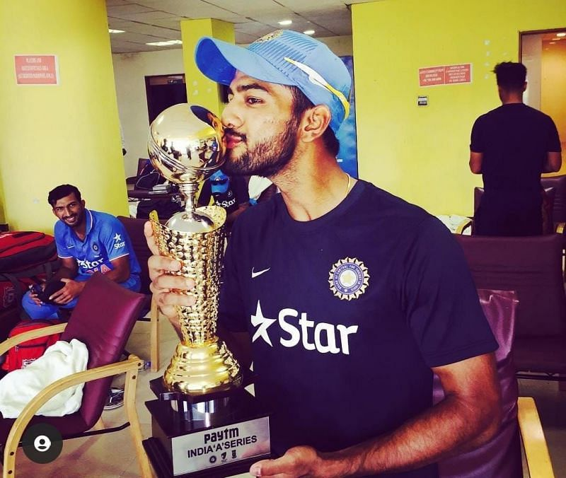 Unmukt Chand in the Chepauk dressing room after leading India A to victory in a tri-series in 2015 [Credits: Unmukt Chand]