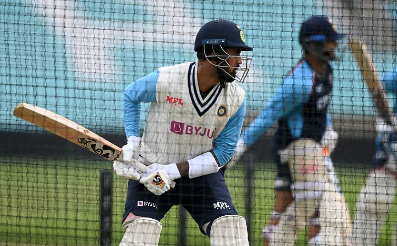 Opener KL Rahul hits during a netting session.