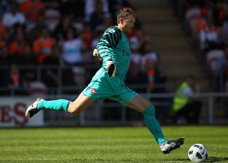 Lehmann in action for Arsenal against Blackpool