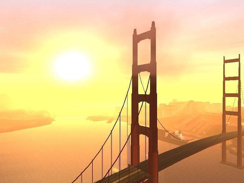 Gant Bridge resembles the Golden Gate Bridge (Image via Rockstar Games)