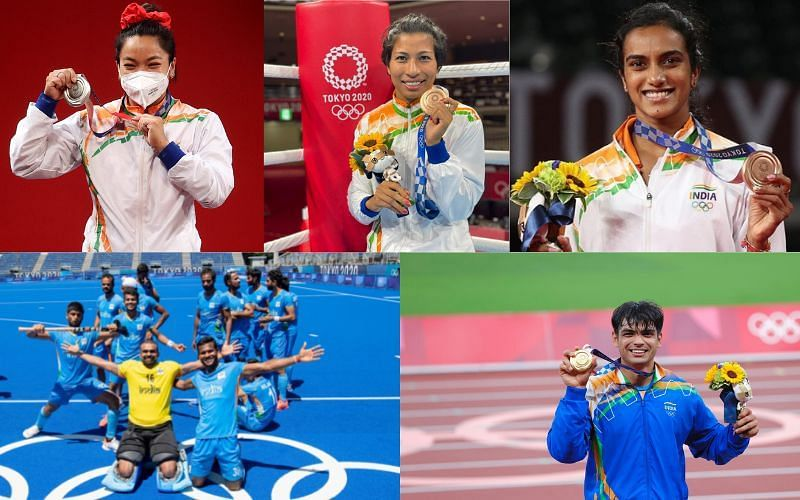 Top 5 moments for the Indians at Olympics [Image Credits: Getty, PV Sindhu/Instagram, Lovlina Borgohain, Hockey India, Neeraj Chopra/Twitter]