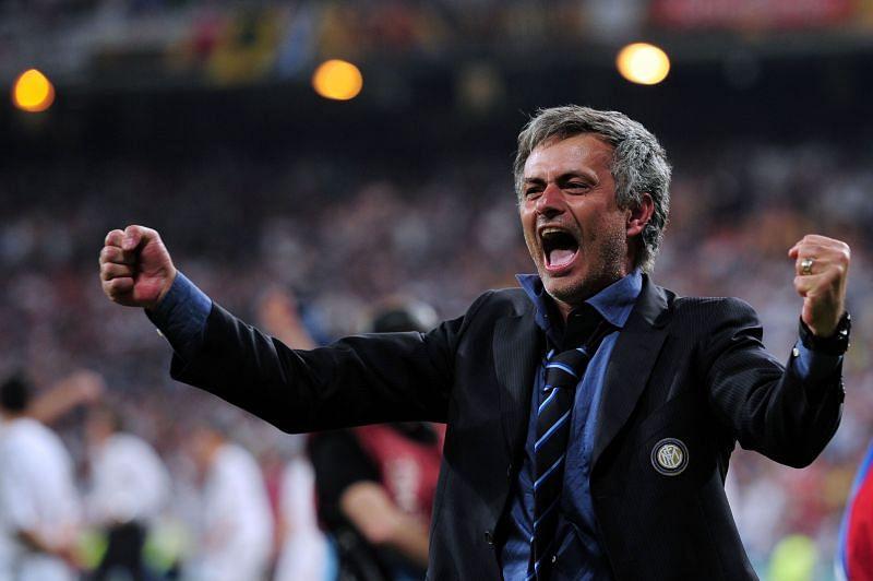 Jose Mourinho celebrates UEFA Champions League success with Inter in 2010
