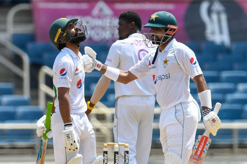 Fawad Alam (L) built a crucial partnership with Babar Azam on Day 1