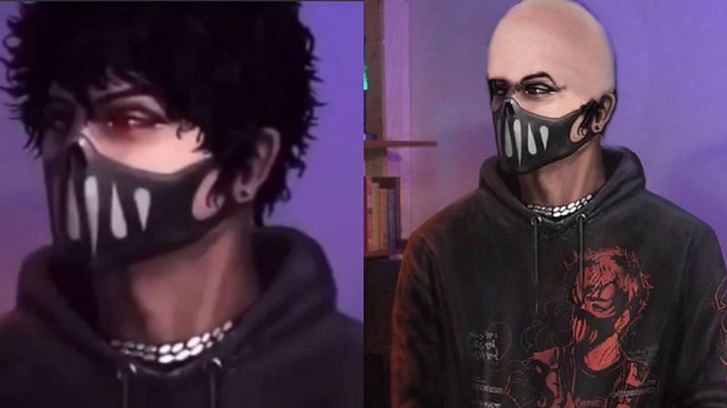 Left: An artist's rendition of Corpse Husband   Right: Howie Mandel's edited version of Corpse Husband (Images via JESPERISH / Anthony Padilla / YouTube and Howie Mandell / Twitter)