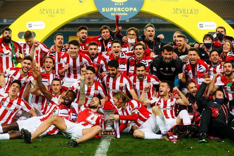 Athletic Club celebrate after securing the 2020-21 Supercopa de Espana