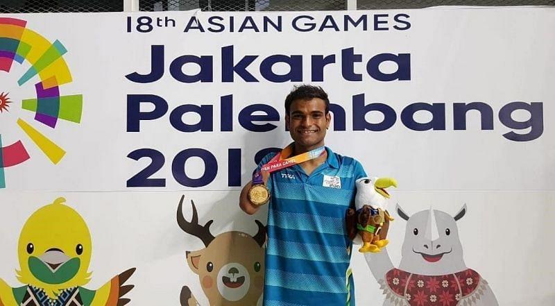 Suyash Jadhav at the 2018 Asian Para Games. (Credits:Suyash Jadhav Twitter)