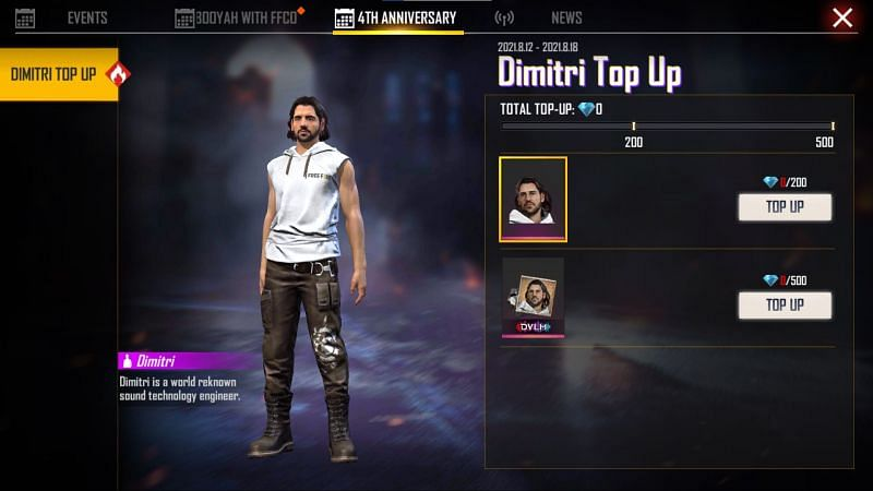 Dimitri is available as a reward for purchasing 200 diamonds (Image via Free Fire)