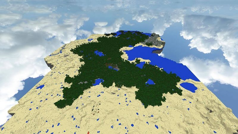 Size of a jungle biome generated in large biomes world type (Image via Reddit)