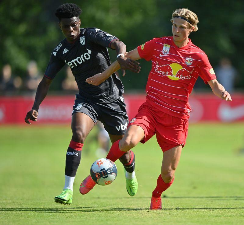 Aurelien Tchouameni in action vs RB Salzburg