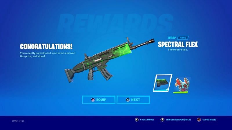The Spectral Flex wrap is available in Fortnite Season 7 (Image via AyeAyeRon/Twitter)