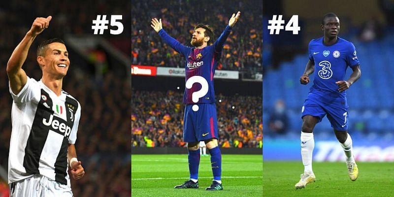 Cristiano Ronaldo, Lionel Messi and N'Golo Kante